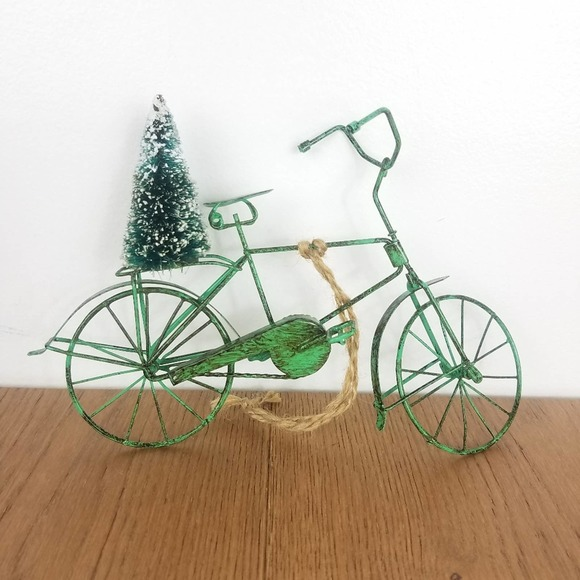 Christmas Tree on Back Bicycle Ornament Figurine